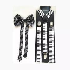 Piyano Tuşeli Pantolon Askısı ve Notalı Papyon Seti